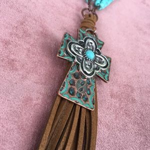 Jewelry - 🌵Turquoise leather tassel cross necklace🌵